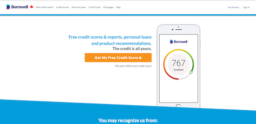Screenshot of the Borrowell homepage