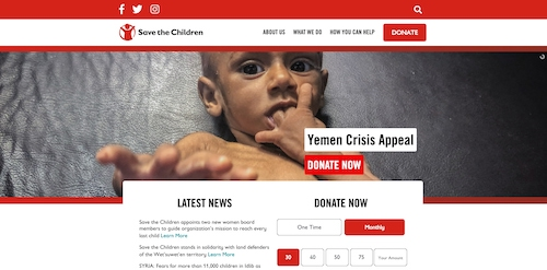 Screenshot of the homepage of Save The Children