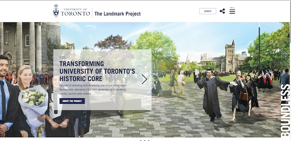 Screenshot of U of T's Landmark homepage site