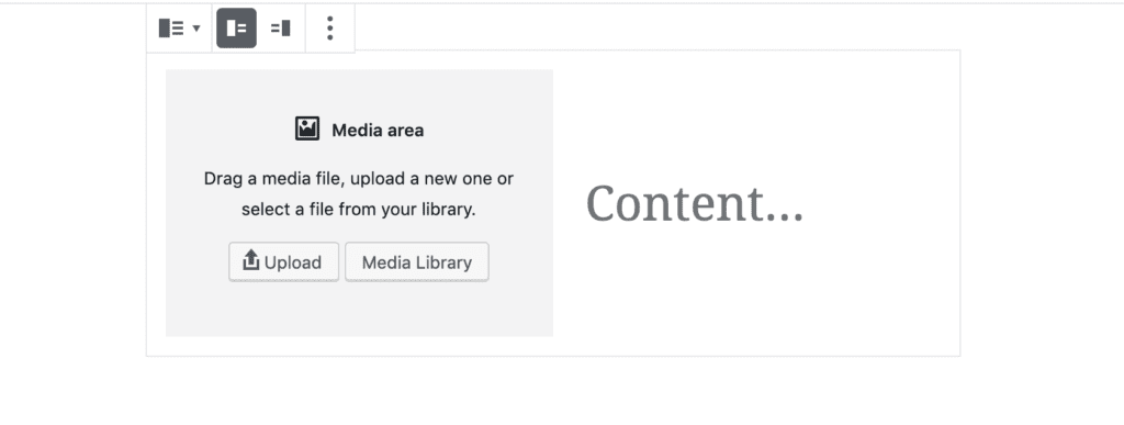 Gutenberg Media and text block from the WordPress backend view