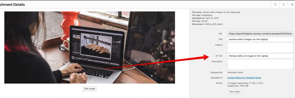 An image showing the backend of the WordPress Media upload area with an image selected. A red arrow is pointing to the alternative text field.
