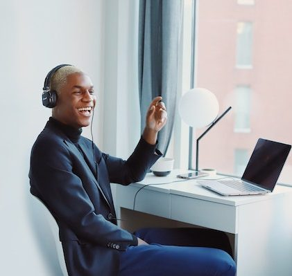 Remote worker smiling