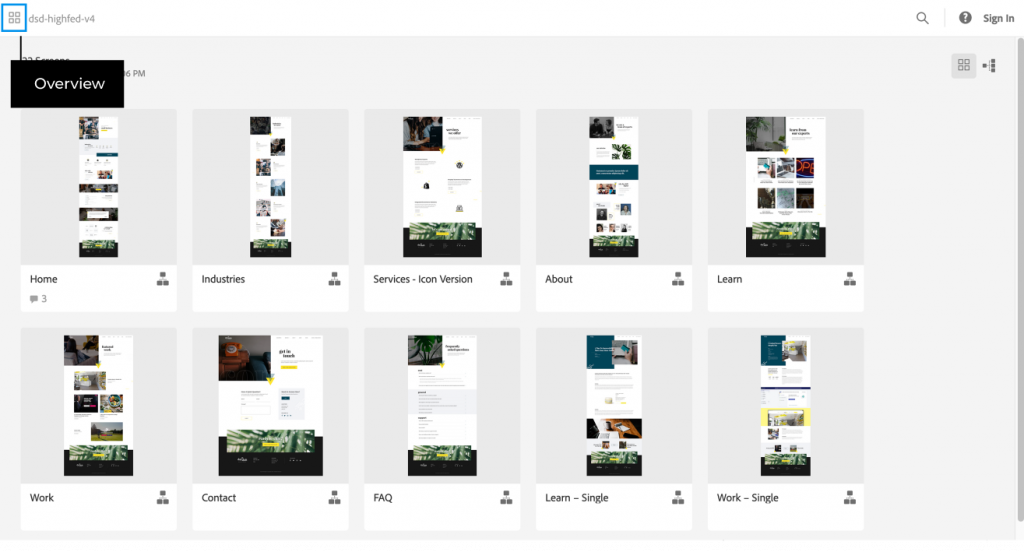 Grid View of AdobeXD