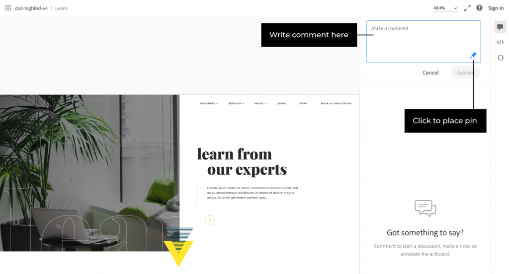 Leave a comment in AdobeXD